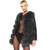 Woman Real Fur Winterjacket with leather darkgrey