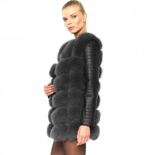 "Real Fur Jacket with leather sleeves ""VOGUE"""