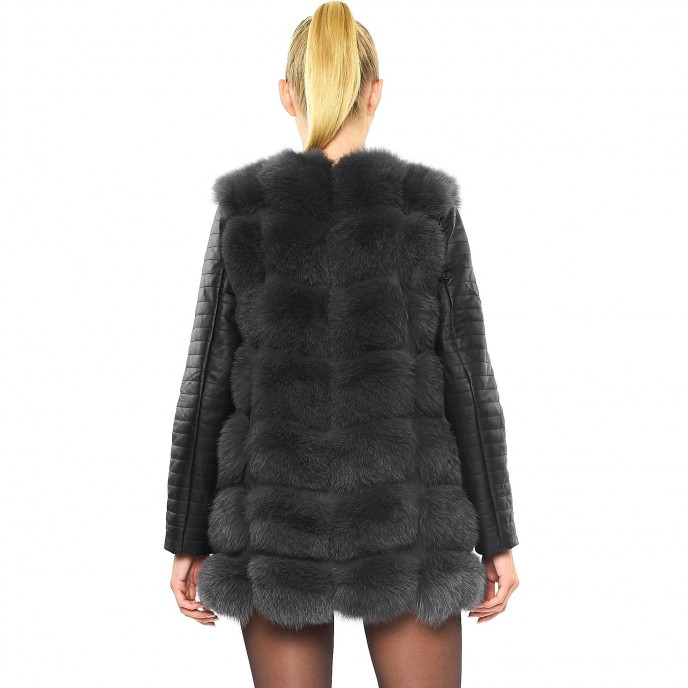 Grey Winterjacket bikerjacket Real Fur Jacket with leather sleeves
