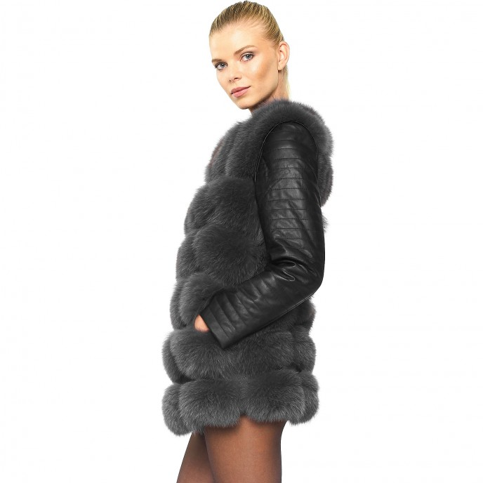 Woman bikerjacket Real Fur Jacket with leather winterjacket