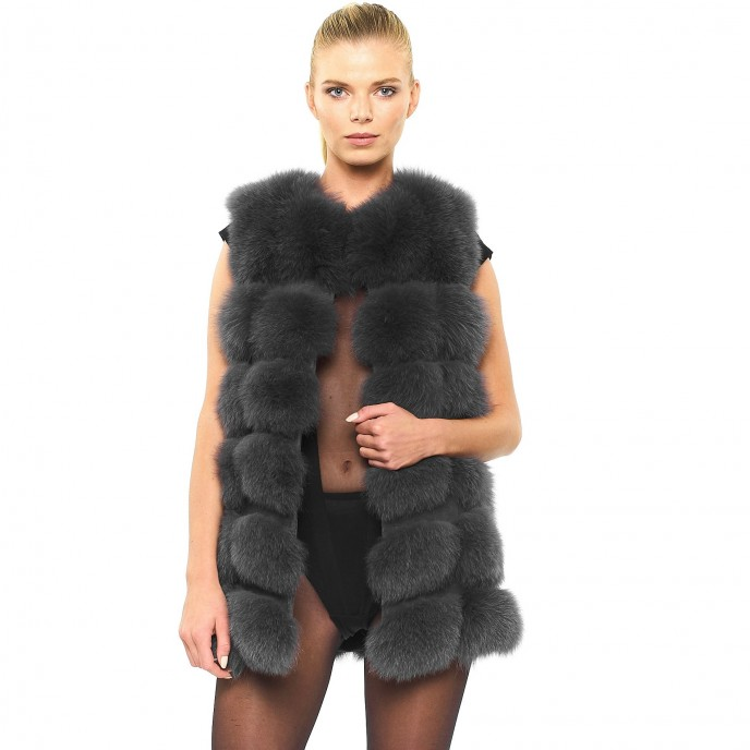 Woman Real Fur Jacket with leather sleeves