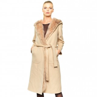 Woolcoat Fur Lining beige Wintercoat Winterjacket