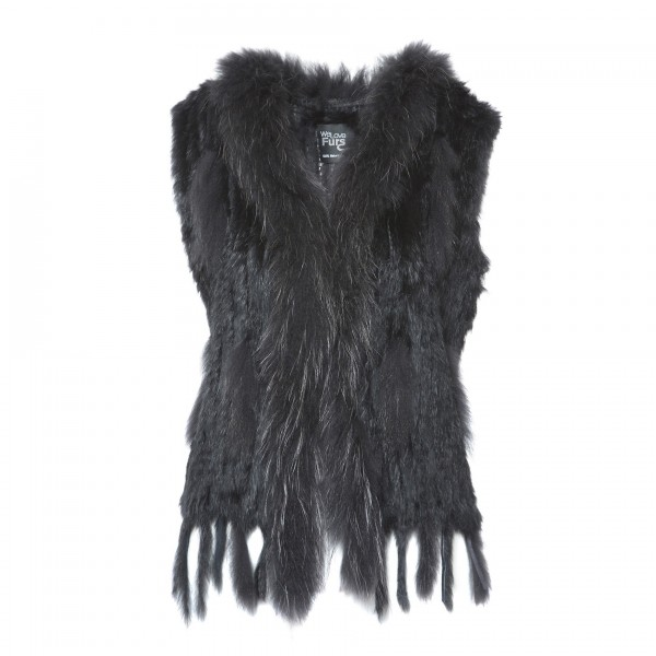 Fur vest with raccoon collar black Cut