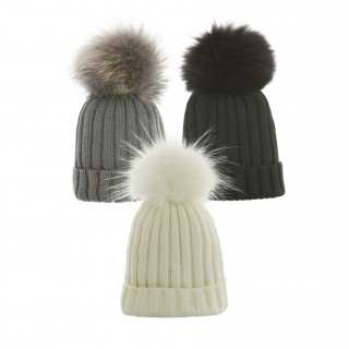 Hat with fur bobble in white, gray and black