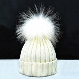 Hat with fur bobble in white
