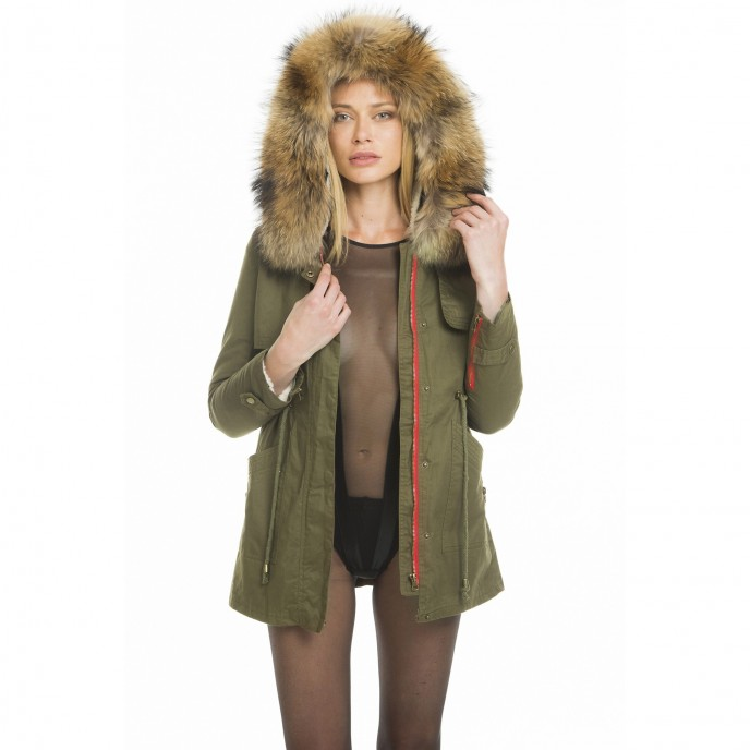 Mini fur parka with fur collar XXL