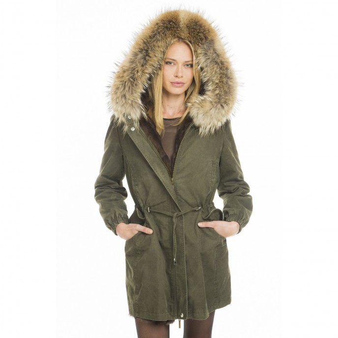 "Echtfell Parka ""GreenCollection"" mit naturfarbenem Innenfutter"