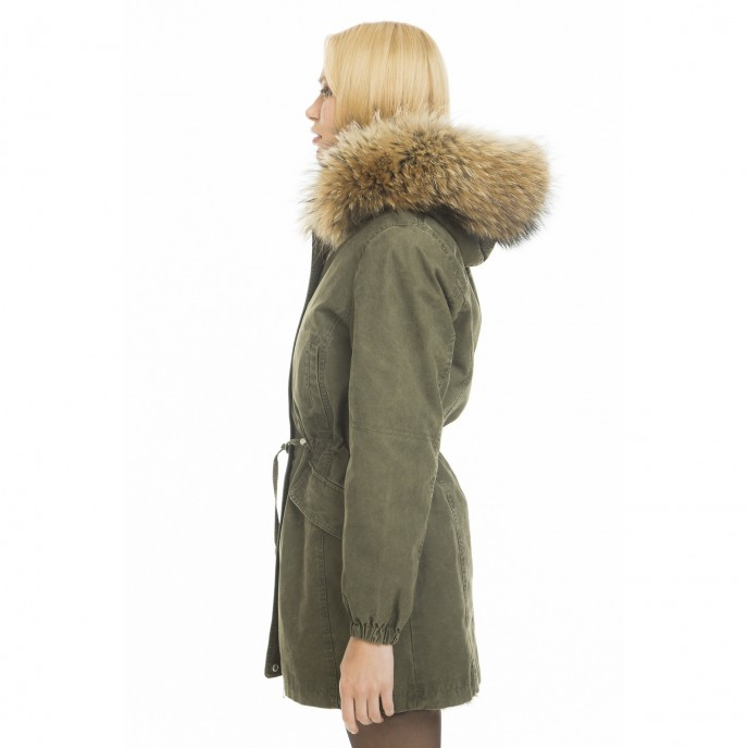 "Real fur parka ""Green Collection"" sideways"