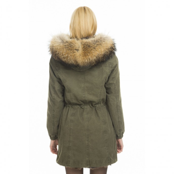 "Real fur parka ""Green Collection"" from behind"