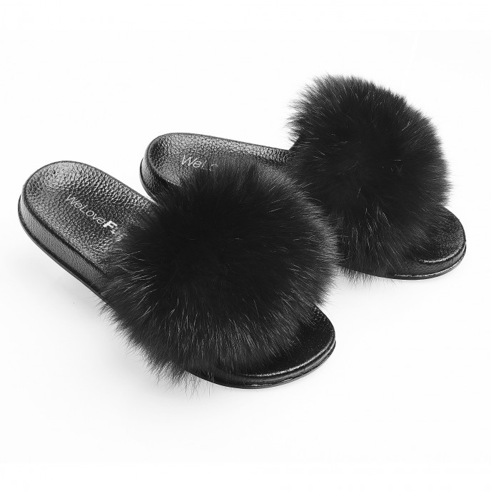 Fox Fur Slippers black, Fox Fur Slides black