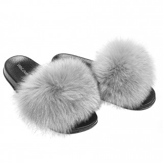 Fur Slides Fox Fur Slippers grey