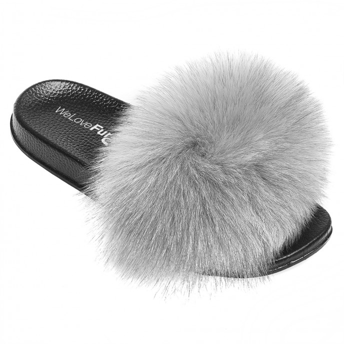 Fox Fur Slide fluffy grey