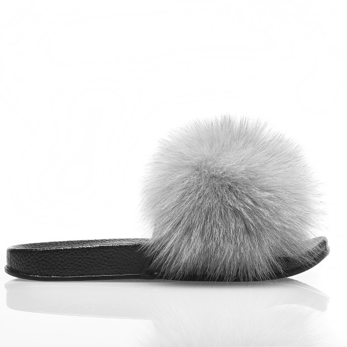 Fur Slipper fluffy grey