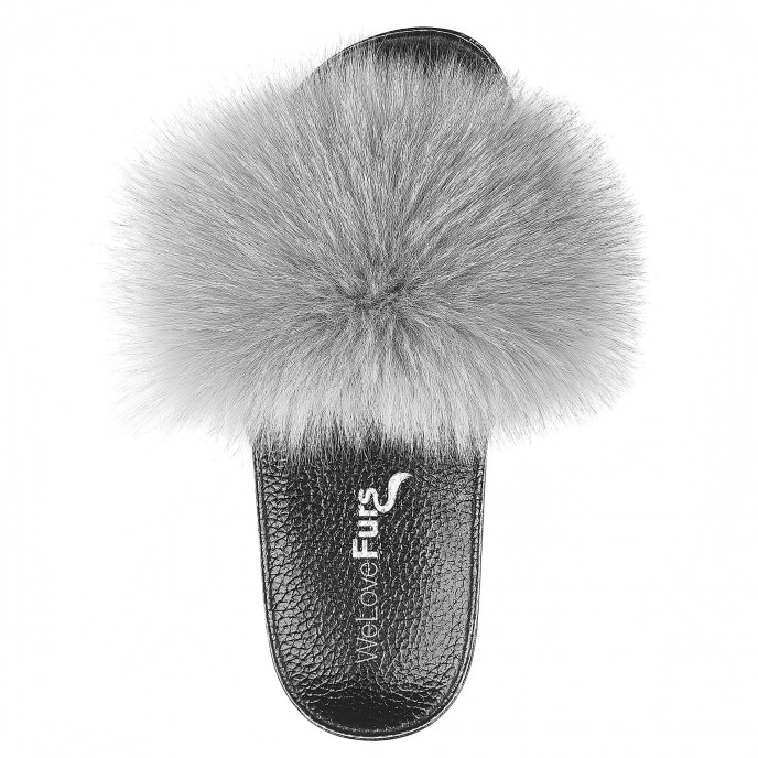 Fox Fur Slide grey WeLoveFurs