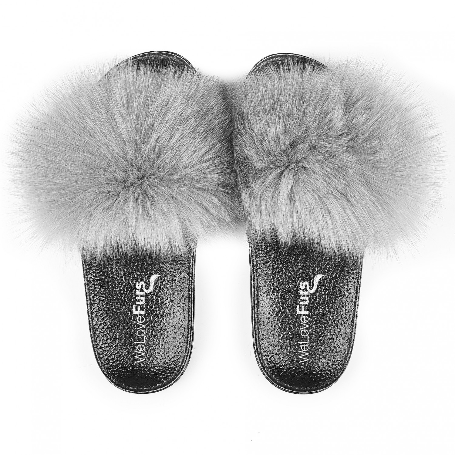 Details about  /Womens Real Fox Fur Soft Slippers Brand Fluffy Raccoon Hair Slides Comfor Shoes
