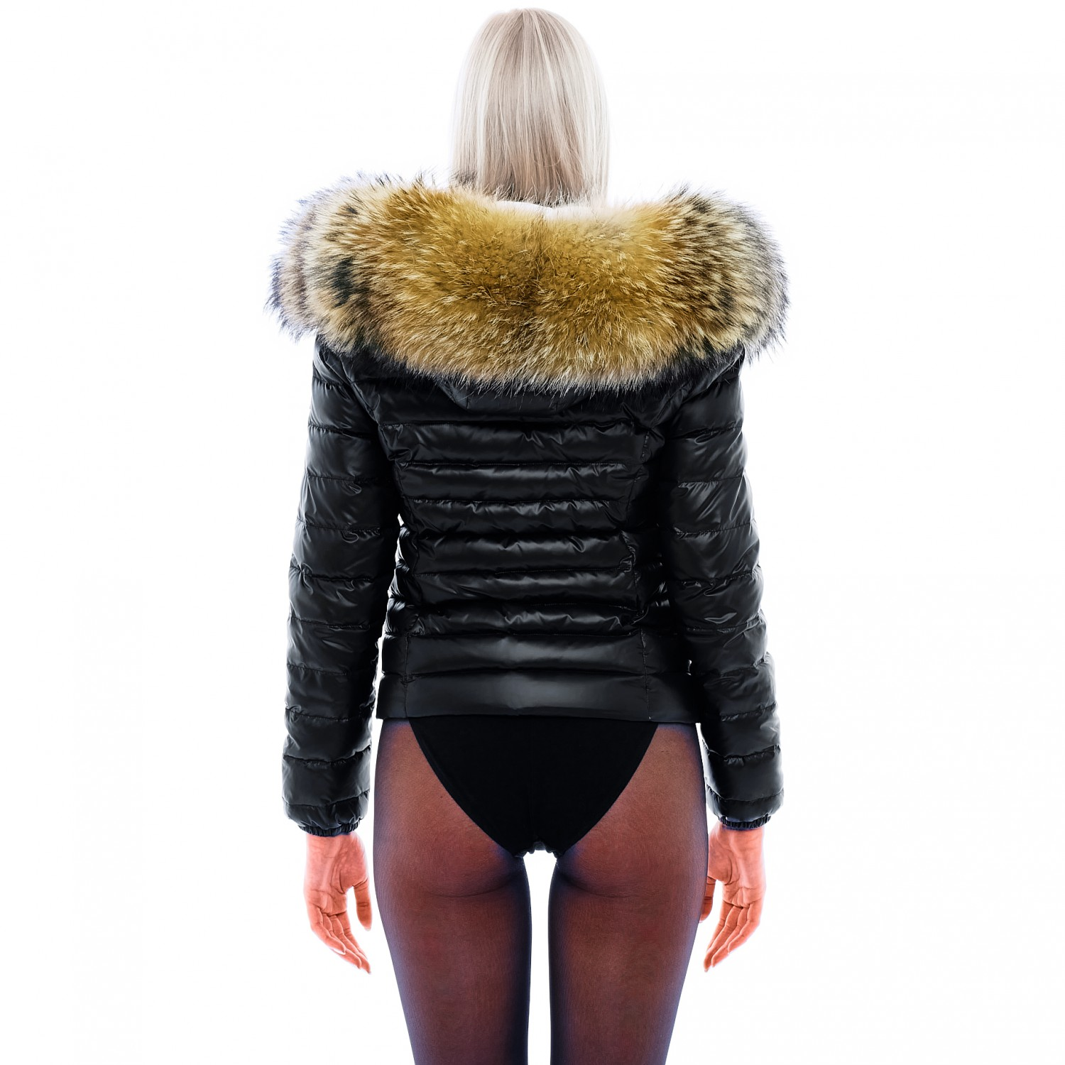"Fur Lined Down Jacket ""MajesticBlack"""