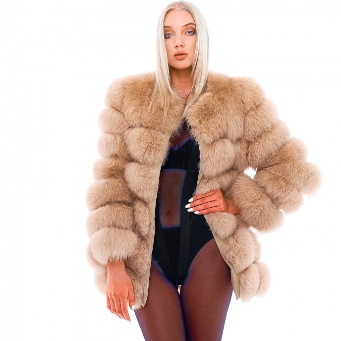 "Fox Fur Jacket ""Vogue"" in Caramel"