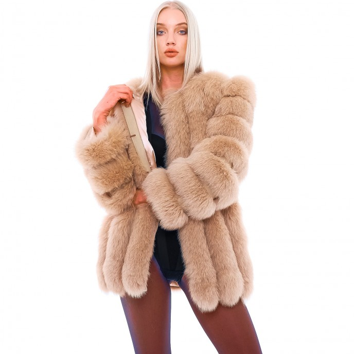 "Real Fur Coat DIVINA ""CARAMEL"""