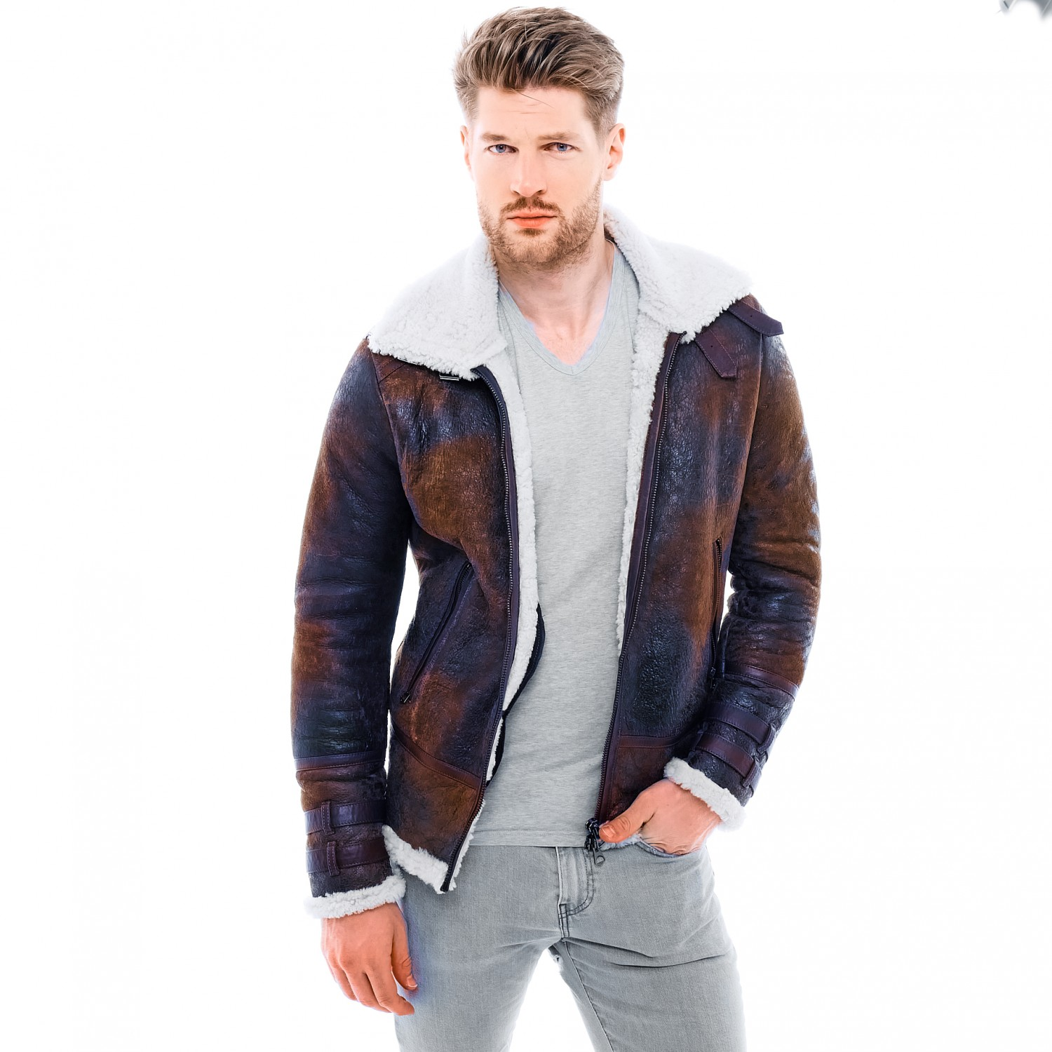 "Mens Shearling Jacket ""AVIATOR"" in darkbrown 