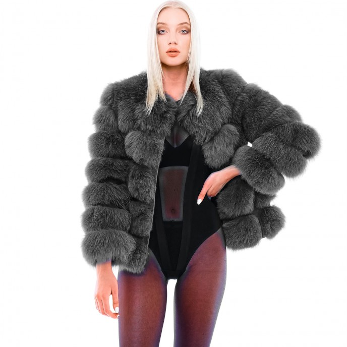 Short Fur Jacket Mini Vogue in grey