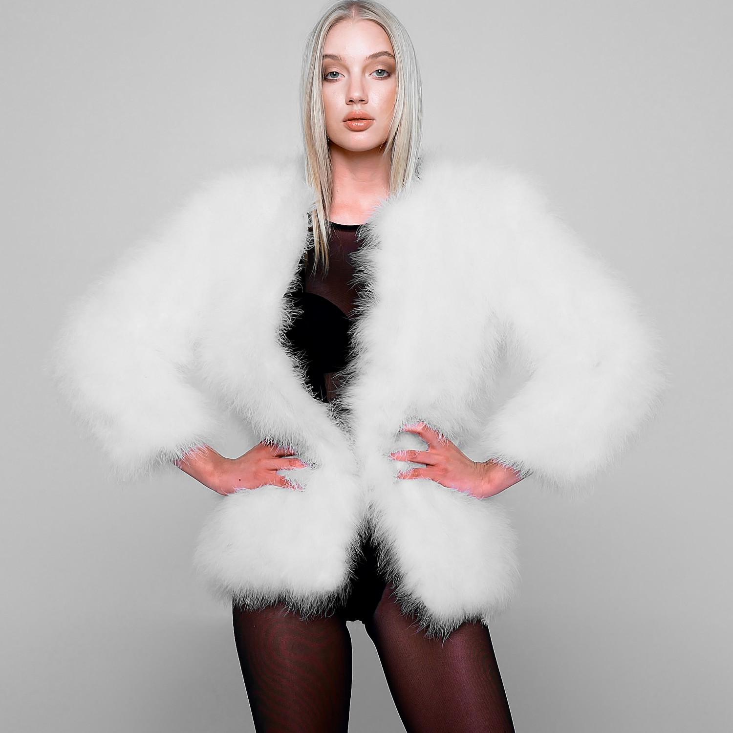 Long Feather jacket in white