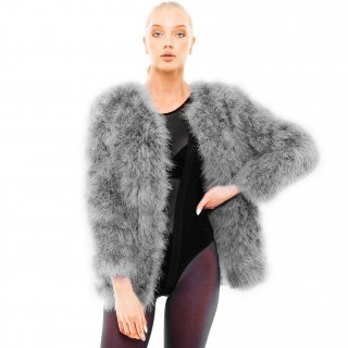 Long grey feather jacket