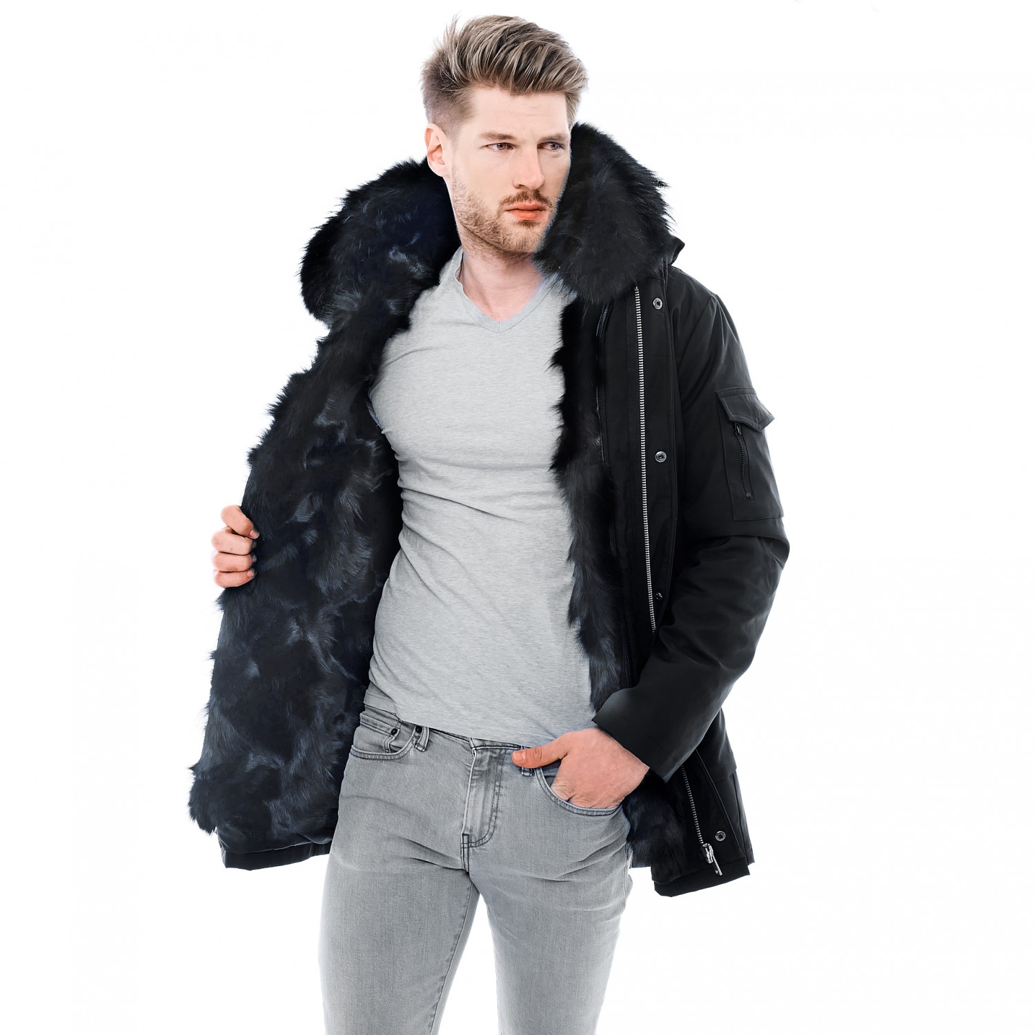 "Fur Lined Mens Coat ""Admiral"""