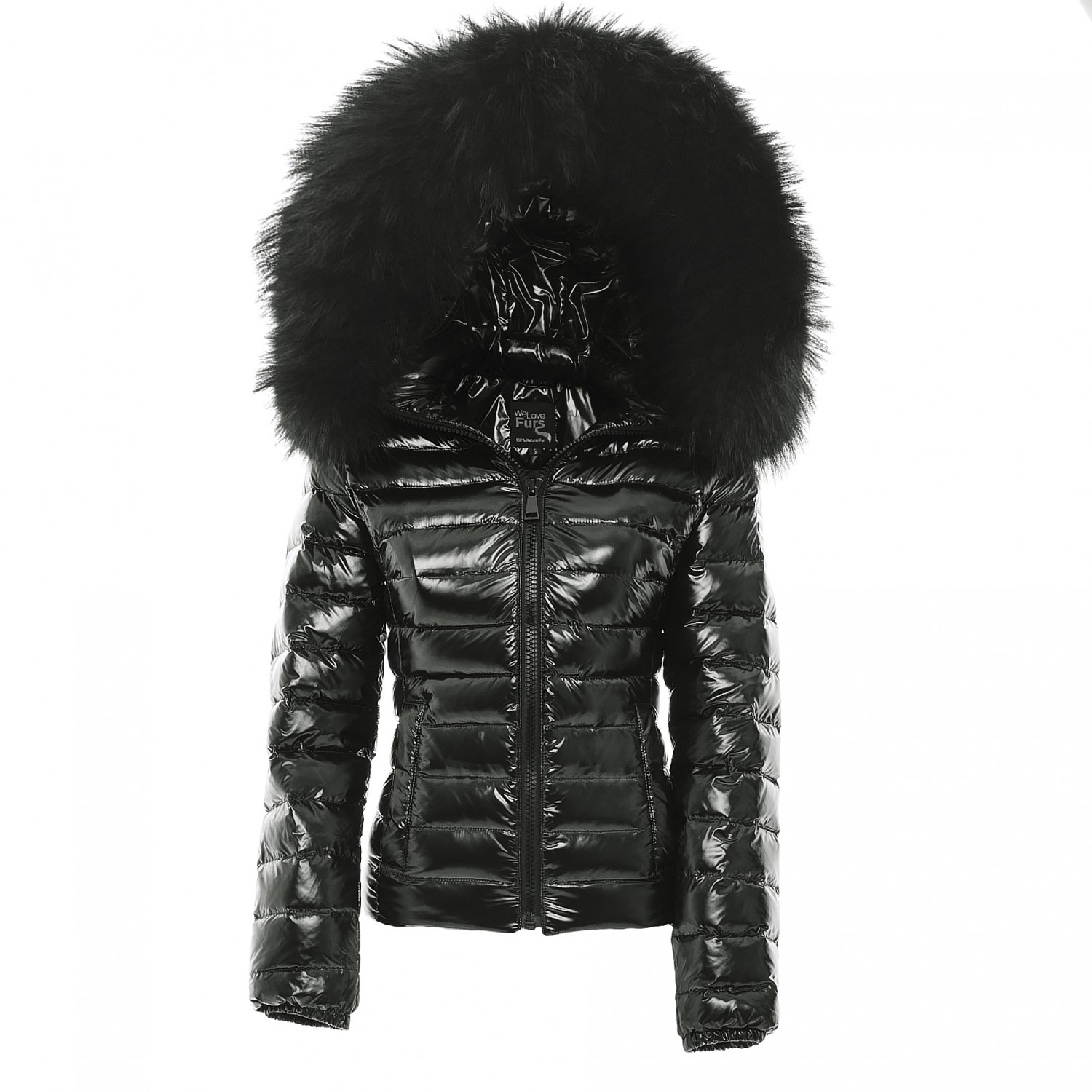 Glossy Pufferjacket with Fur Glossia