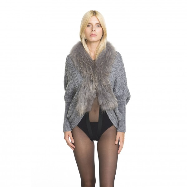 Ladies Cardigan with fur collar in grey
