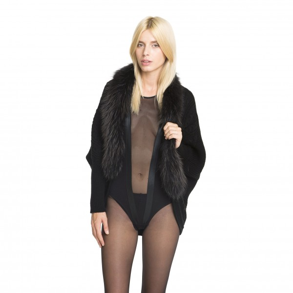 Woolvest Cardigan with fur collar in black