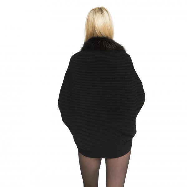Womans Realfur Woolvest Cardigan with fur collar in black